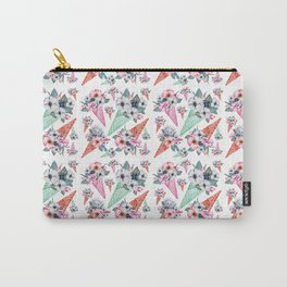 Pink teal hand painted watercolor cone tropical floral Carry-All Pouch