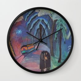 'Blue Sparks Fly' lovers winter landscape painting by Marianne von Werefkin Wall Clock
