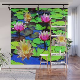 PINK & YELLOW WATER LILIES POND Wall Mural