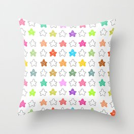 Colorful Childish Stars Throw Pillow