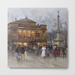 Theater du Chatelet, Paris Opera House, France portrait painting by Eugene Galian Laloue Metal Print