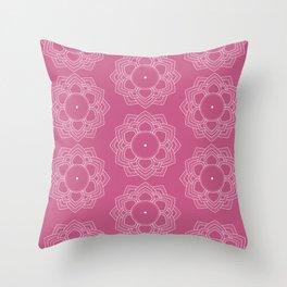 Sahasrara Crown Chakra Mandala Pattern in Pink and White Throw Pillow