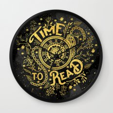 Time to Read - Gold Wall Clock