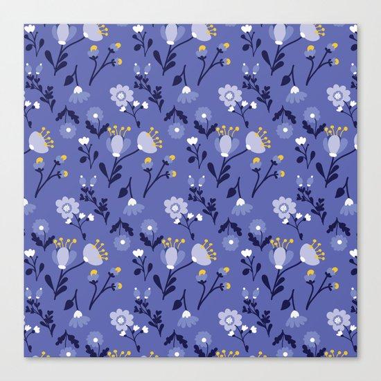 Blue Vintage Flower Pattern Canvas Print