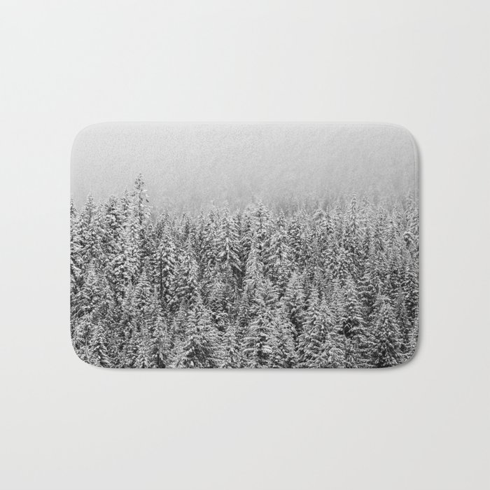 Black and White Snowy trees Bath Mat