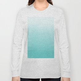 Modern teal watercolor gradient ombre brushstrokes pattern Long Sleeve T-shirt