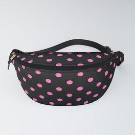 Large Light Hot Pink Polka Dots on Black Fanny Pack
