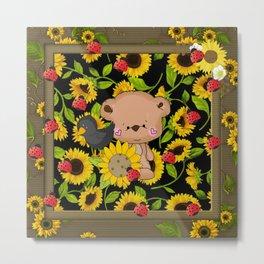 Rustic Sunflowers Bear And Black Crow Ladybugs Metal Print