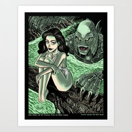 Julia Adams and the Creature from the Black Lagoon Art Print