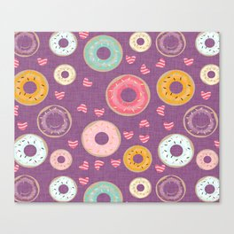 hearts and donuts purple Canvas Print
