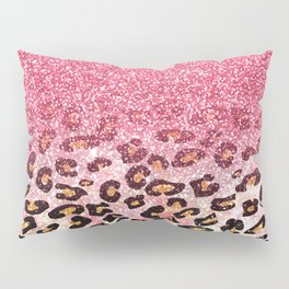 Cute girly trendy bubble gum pink faux glitter leopard animal print pattern Pillow Sham
