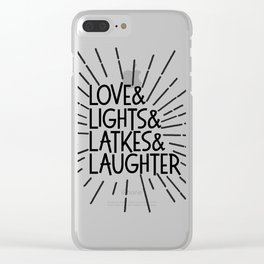 LOVE & LIGHTS & LATKES & LAUGHTER Hanukkah ampersand design Clear iPhone Case