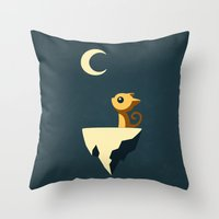 cat coquillette Throw Pillows featuring Moon Cat by Freeminds