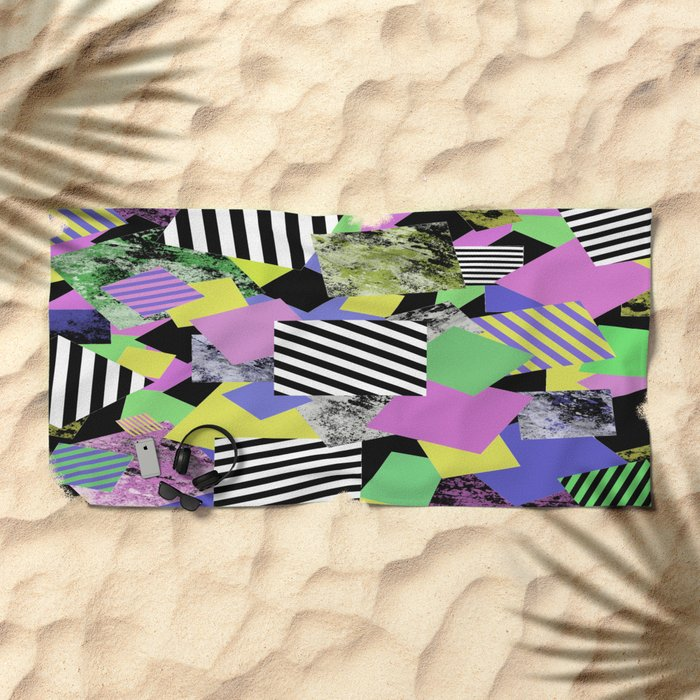 Crazy Squares - Abstract, Geometric Pop Art Beach Towel