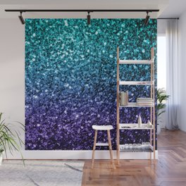 Beautiful Aqua blue Ombre glitter sparkles Wall Mural