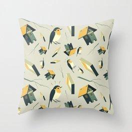 Flying Birdhouse (Pattern) Throw Pillow
