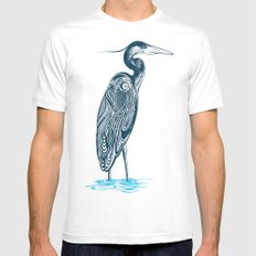 Bewitching blue heron MEDIUM White Mens Fitted Tee