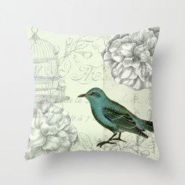 Collaged bird correspondence Throw Pillow