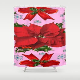 POINSETTIA SNOWFLAKES HOLLY HOLIDAY PINK DESIGN Shower Curtain