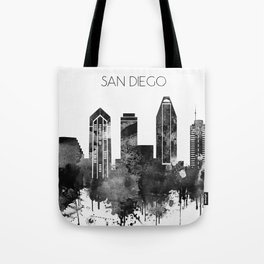Black and white watercolor San Diego skyline Tote Bag