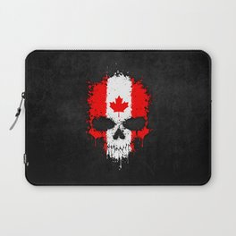 Flag of Canada on a Chaotic Splatter Skull Laptop Sleeve