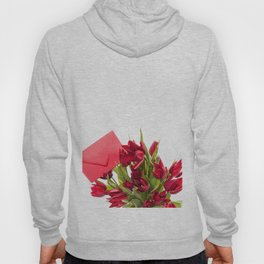 Tulips bouquet with red envelope Hoody
