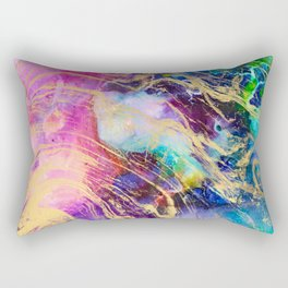 Modern gold marble on pastel pink purple watercolor nebula paint Rectangular Pillow