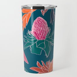 Tropical Ginger Plants in Coral + Teal Travel Mug