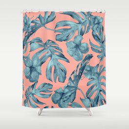 Island Life Teal on Coral Pink Shower Curtain