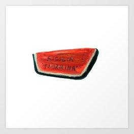 Fan's illustration - Watermelon ceramic in Taormina Sicilia Art Print