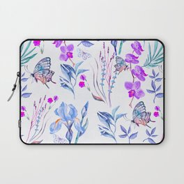 Modern purple blue watercolor hand painted orquid butterfly Laptop Sleeve