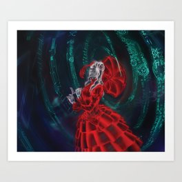 Netrunner: Woman in Red Dress Art Print