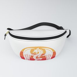 Angry Medieval Dragon and Retro Vintage Sunset  design Fanny Pack