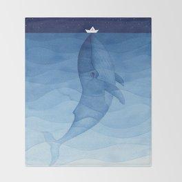 Whale blue ocean Throw Blanket
