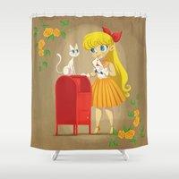 sailor venus Shower Curtains featuring Retro Sailor Venus by Crimson Pumpkin