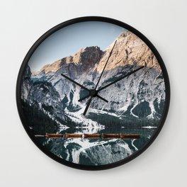 Sunrise at lake Braies in the Italian Dolomites Wall Clock