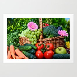 Vegetable composition in the summer garden Art Print