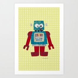 whirr 50s retro robot Art Print