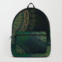 """""""Dark Clover Green & Gold Mandala Deluxe"""" Backpack"""