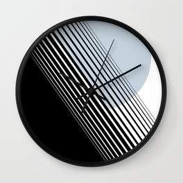 Rising Sun Minimal Japanese Abstract White Black Blue Wall Clock