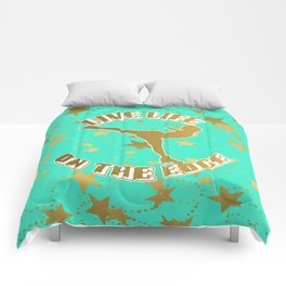 Figure Skating Live Life on the Edge in Aqua  with Gold Stars Design Comforters