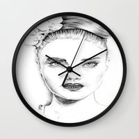 cara delevingne Wall Clocks featuring Cara Delevingne by Rillwatermist