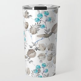 Hand painted teal brown watercolor berries fruit floral Travel Mug