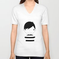 boy V-neck T-shirts featuring Boy by stavrina inno