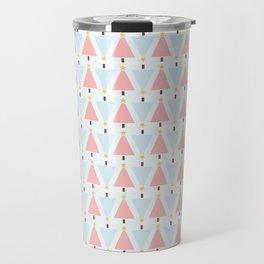Christmas Tree Patterns with soft Aqua Background Travel Mug