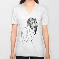 Many Faces of Lady Unisex V-Neck