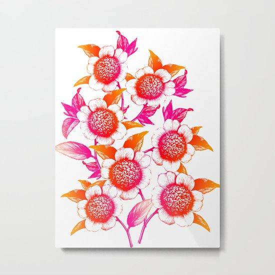 Pink and Orange Flowers Elegant Pattern Metal Print