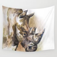 rhino Wall Tapestries featuring Rhino by Kim Morrow