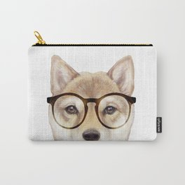 Shiba inu with glasses Dog illustration original painting print Carry-All Pouch