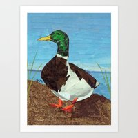 duck Art Prints featuring Duck by GiGi Garcia Collages